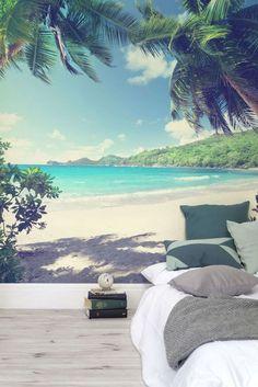 Fotobehang zee met palmbomen strand