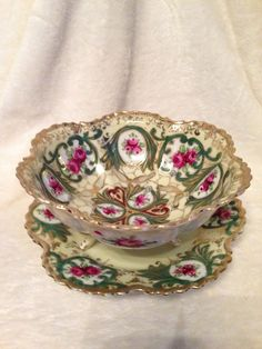 Nippon Hand Painted Pierced Colander Berry Bowl & Underplate