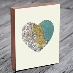 Awesome Chicago artist!! Chicago Art City Heart Map - Wood Block Art Print. Take a peek at his Etsy shop!