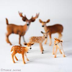 Schleich Plastic Deer Family Figurines