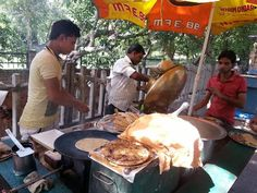 Street Food along Delhi, India roads- 'Chole Kulche'