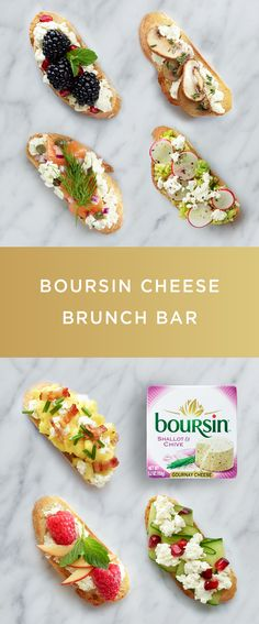 Our Boursin Cheese Brunch Bar is a simple way to start the weekend with a wow. Simply spread toasted baguettes with your favorite flavor of Boursin cheese, then top with a delicious assortment of brunch favorites. Finger Food Appetizers, Appetizers For Party, Brunch Recipes, Appetizer Recipes, Cheese Recipes, Cooking Recipes, Brunch Bar, Brunch Food, Boursin Cheese