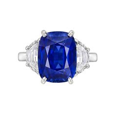 Harry Winston 6.49 Carat Sapphire & Diamond Ring | From a unique collection of vintage three-stone rings at http://www.1stdibs.com/jewelry/rings/three-stone-rings/
