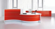 Reception Desk storage - VALDE Curved Desk Storage Counter Reception Desk by MDD Office Furniture. Curved Reception Desk, Curved Desk, Reception Counter, Reception Desks, Curved Walls, Bureau Design, Furniture For Small Spaces, Colorful Furniture, Furniture Ideas