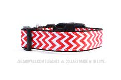 """The Fire Hydrant Red Signature Collar is available in two styles: our standard 1"""" for larger dogs, and a smaller 3/8"""" width for small and toy breeds."""