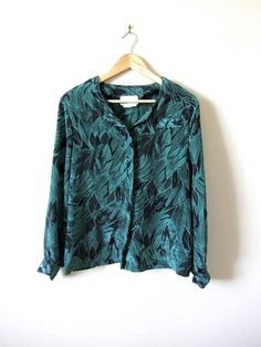 3e804d01 80s Vintage Green and Black Pattern Button Up Blouse Black Pattern, Vintage  Green, Button