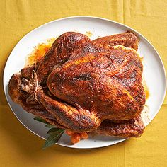Bring this bird to the table and prepare for the ooh's and aah's. This Thanksgiving turkey rub is filled with bold flavors like garlic, chili, and mustard. Finish the roasted turkey recipe with a sticky bbq turkey glaze. Turkey Rub, Bbq Turkey, Turkey Glaze, Pellet Grill Recipes, Grilling Recipes, Bhg Recipes, Yummy Recipes, Dinner Recipes, Thanksgiving Turkey