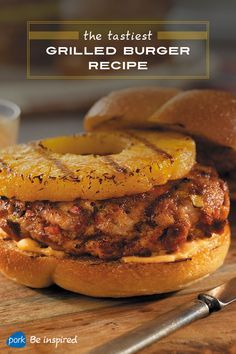 Burgers worthy of your grill. This recipe combines ground pork and chorizo with breadcrumbs, eggs, red pepper and garlic into a mouthwatering patty that gets topped with homemade Sriracha aioli and fresh pineapple.