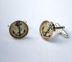 Vintage Anchor Cufflinks Nautical Anchor Cuff Links by yayadiyclub, $38.00
