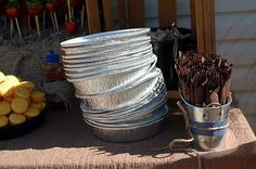 Another... COWBOY THEMED PARTY - Guests ate off of aluminum pie plates.