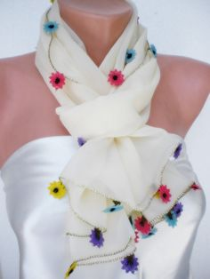 Flowers from Rainbow Scarf by smilingpoet on Etsy, $40.90