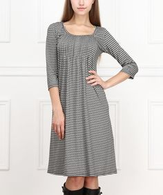 Gray Houndstooth Three-Quarter Sleeve Dress | zulily