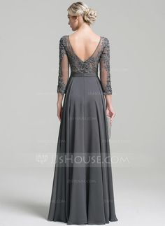 A-Line/Princess Scoop Neck Floor-Length Beading Sequins Zipper Up Sleeves Long Sleeves No Steel Grey General Plus Chiffon Height:5.7ft Bust:33in Waist:24in Hips:34in US 2 / UK 6 / EU 32 Mother of the Bride Dress