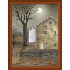 Autumn Moon by Billy Jacob Country Americana Stone House Art Print Framed