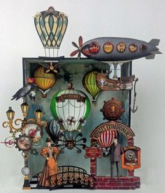 Artfully Musing: VOYAGES EXTRAORDINIARES Steampunk Shadowbox & Diorama Plus New Collage Sheets & Digital Image Sets