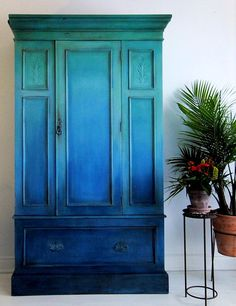 Special antique armoire- Refinished - blue ombre cabinet #ad #paintedfurniture