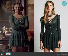 Free People 'Juliet' Lattice Fit and Flare Slip in Evergreen worn by Kat Graham on The Vampire Diaries