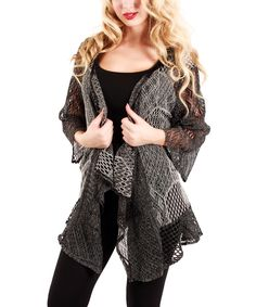 Love this Gray Sheer Patchwork Open Cardigan - Women by Lily on #zulily! #zulilyfinds