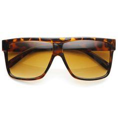 cb1a42d4dd zeroUV Designer Inspired Large Flat Top Square Plastic Aviator Sunglasses  Tortoise     You can