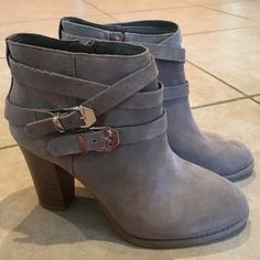 INC suede taupe ankle booties new! Used as store displays but in like new condition! INC taupe suede ankle boots. Super cute! INC International Concepts Shoes Ankle Boots & Booties
