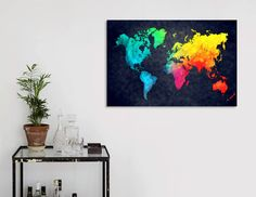 Discover «world map 1», Numbered Edition Canvas Print by Justyna Jaszke - From $49 - Curioos