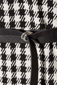 Altuzarra - Leppard Belted Houndstooth Stretch-cady Dress - Black - FR36