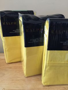 Ralph Lauren 464 Solid Percale Yellow 4 PC cal king  Sheet Set Flat Fitted Cases…
