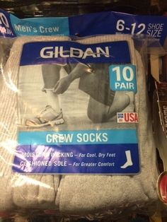 GILDAN Socks Crew Gray Sox 10 Pack Men's Size Size 6-12 NEW IN PACK #GILDAN #Casual