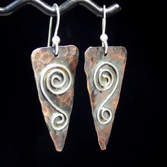 Copper Earrings  Rustic Romance Spirals by LavenderCottage on Etsy, $38.00