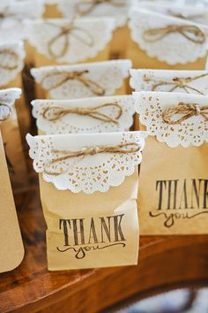 Our cute #weddingfavors. Loaded with #Starbucks coffee beans. #coffeebag #favors #doilies