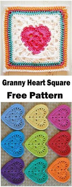 Motifs Granny Square, Crochet Blocks, Granny Square Crochet Pattern, Crochet Squares, Crochet Motif, Crochet Stitches, Crochet Granny, Heart Granny Square, Granny Fun