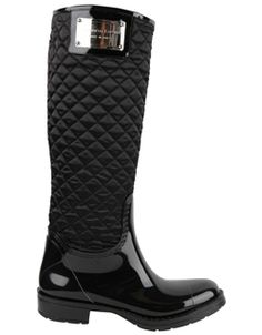 Black Quilted Rain Boot i will need these for london