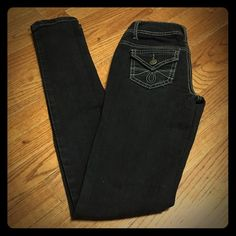 Earl Jean Blue Skinny Black Jeans 0 Excellent condition except for the *slightest* bit of pucker at the zip.  Very very slight.  Super cute style. Earl Jeans Jeans Skinny