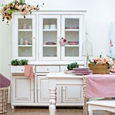 Vrace - Shabby chic cupboard in wood, 150x45 cm | Sediarreda.com Shabby Chic Decor Living Room, Rustic Shabby Chic, Credenza Shabby, China Cabinet, Repurposed Furniture, Country Chic, Cottage Style, Storage, Cupboard