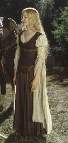 Gowns Pagan Wicca Witch: LOTR Eowyn's brown peasant dress and cream chemise with…