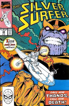 Items similar to Silver Surfer 34 VFNM Rebirth of Thanos Infinity Gauntlet Prelude Jim Starlin Ron Lim Marvel Comics Copper Age Feb 1990 Gifts for Him Her on Etsy Marvel Comic Books, Marvel Characters, Comic Books Art, Comic Art, Marvel Dc, Thanos Marvel, Captain Marvel, Captain America, Caricature