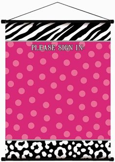 This product is a great way to preserve some memories at special events such as birthdays, sweet sixteen parties, bridal and baby showers, and girl's nights!  Have each guest sign and record a special message on our fabulous Zebra Party Sign-In Scroll.  This keepsake item features a hot pink polka dot center bordered by a black and white zebra and leopard print pattern and is constructed of high quality glossy paper.  The expression �Please Sign In:� is featured at the top and the entire…