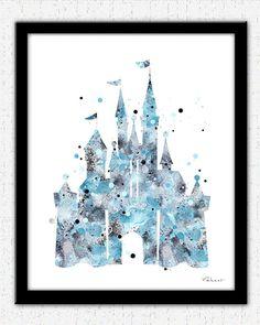Blue Cinderella castle print Disney castle by FluidDiamondArt