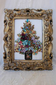 Vintage Jewelry Framed Christmas Tree ♥ Rich Jewel Tones Flowers Birds Glam | eBay