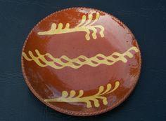 Fantastic Pennsylvania Redware Slip Decorated Plate in Pumpkin Glaze Must See | eBay  sold   265.00.      ~♥~