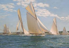 Anthony Blake. RELIANCE, COLUMBIA and CONSTITUTION Hoisting Sail Off Fort Adam, Newport 1903. J. Russell Jinishian Gallery, Inc.