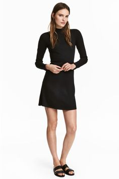 Ribbed jersey dress - Black - Ladies | H&M GB 1