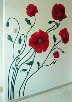 Poppies on wall