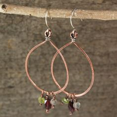 $36 - Passion Hoops - Copper & sterling silver hoops with garnet, peridot & labradorite dangles - Maggie Connolly Designs