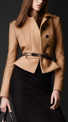 Felted Wool Peplum Jacket | Burberry