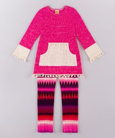 Another great find on #zulily! Pink & Cream Pocket Tunic & Leggings - Toddler & Girls #zulilyfinds