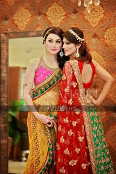 Bridal Wear: pink & mustard, red & green - I love their hairpieces Pakistani Couture, Pakistani Bridal Wear, Pakistani Wedding Dresses, Pakistani Outfits, Indian Dresses, Indian Outfits, Bridal Dupatta, Ethnic Fashion, Asian Fashion