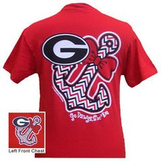 New Georgia Bulldogs Anchor Bow Girlie Bright T Shirt   SimplyCuteTees