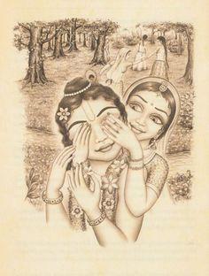 Radha plays with Krishna