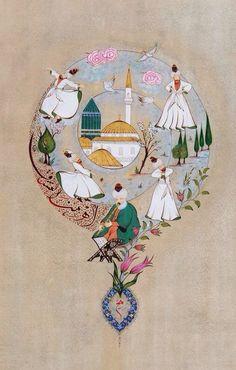 Watercolor Illustration, Graphic Illustration, Brain Art, Islamic Paintings, Turkish Art, Islamic Calligraphy, Illuminated Manuscript, Islamic Art, Indian Art